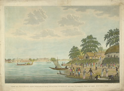 'View of Maldah with procession of a Hindoo woman to the funeral pile of her husband'. Aquatint with etching by and after James Moffat, published Calcutta c.1802